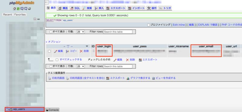「user_login/ユーザー名」「user_email/メールアドレス」を確認